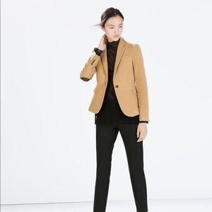 Zara camel blazer w/ elbow pads - size large